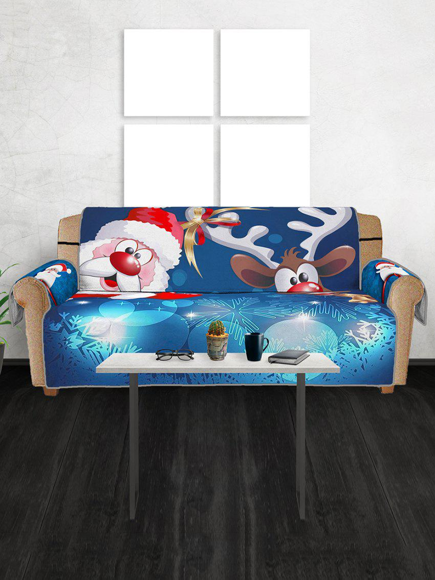 Affordable Christmas Santa Claus Elk Sleigh Pattern Couch Cover