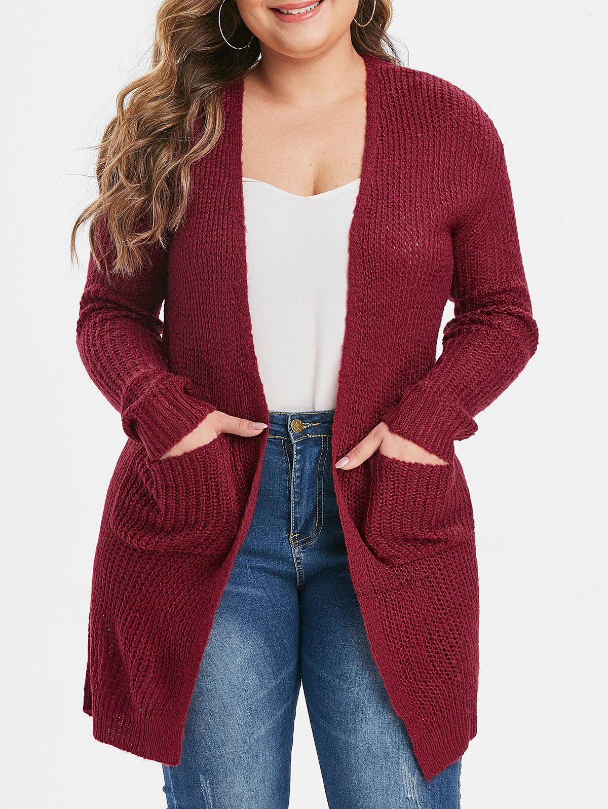Plus Size double poches Cardigan solide Rouge 1X
