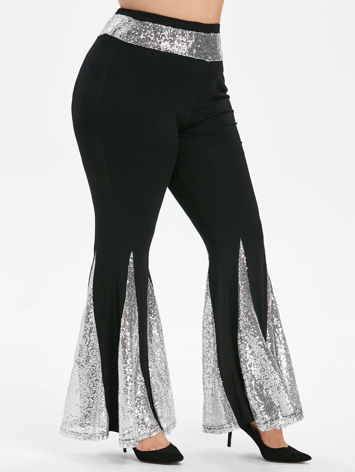 Cheap High Waisted Sequined Plus Size Flare Pants