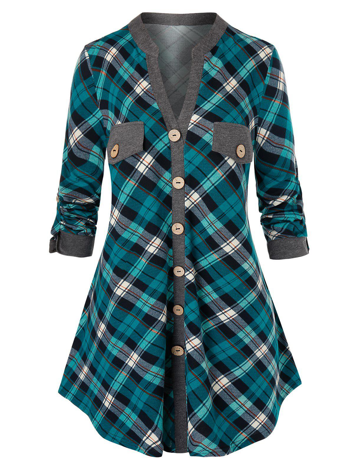 Shops Plus Size Plaid Mock Buttons Roll Up Sleeve Blouse