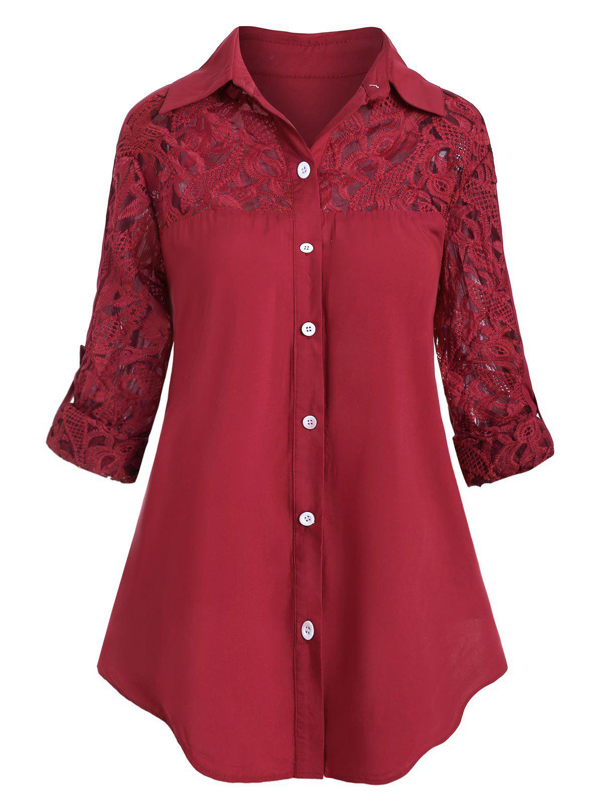 Plus Size Roll Up Sleeve Lace Panel Shirt Rosegal
