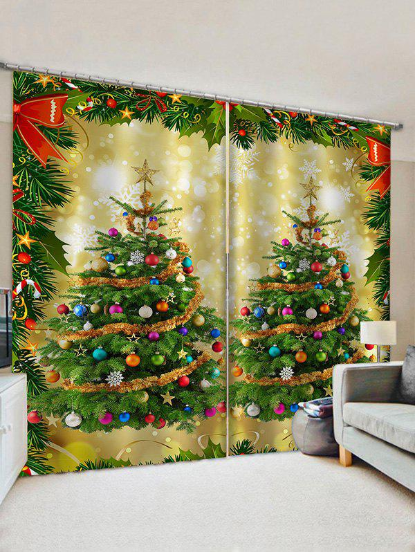 Cheap 2 Panels Christmas Balls Tree Bowknot Print Window Curtains