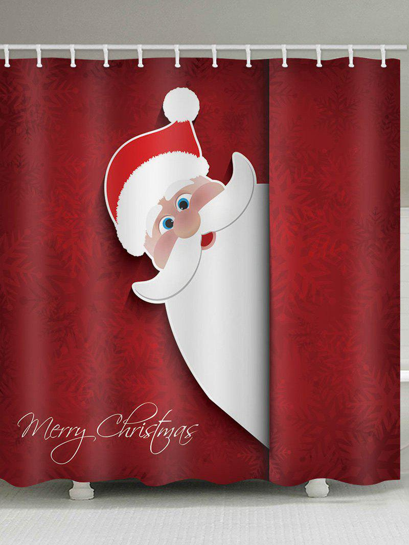 Outfit Christmas Santa Claus Greeting Snowflakes Print Waterproof Bathroom Shower Curtain