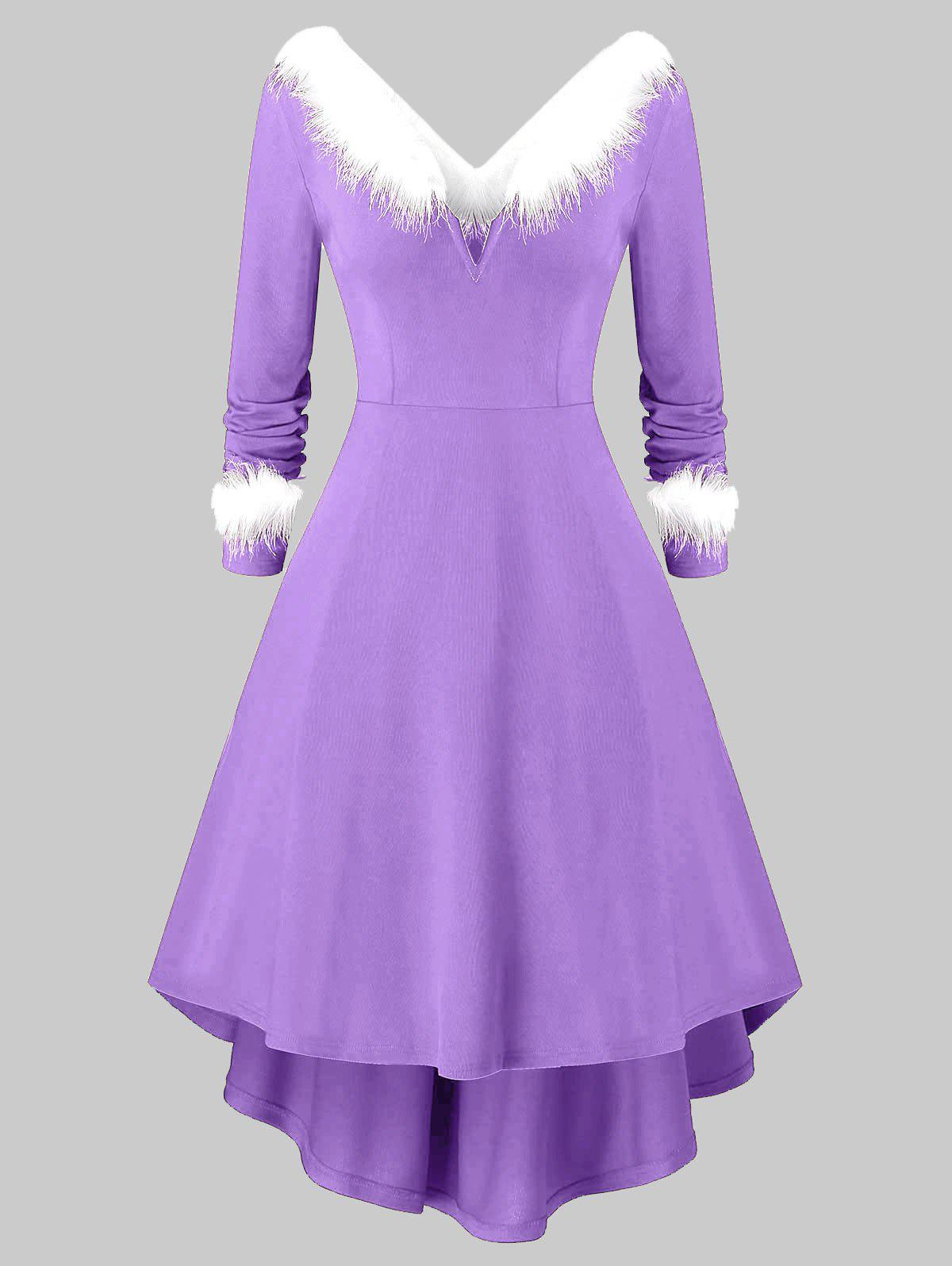 Outfits Plus Size Christmas Asymmetrical Faux Fur Panel Knitted Dress