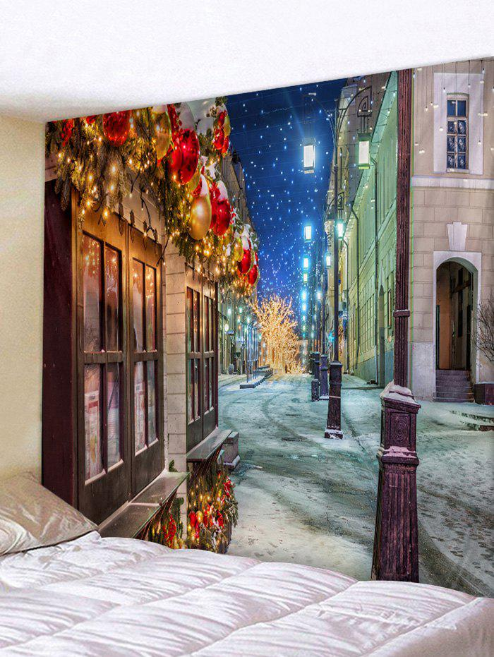 Discount Christmas House Streetlights Print Tapestry Wall Hanging Art Decoration
