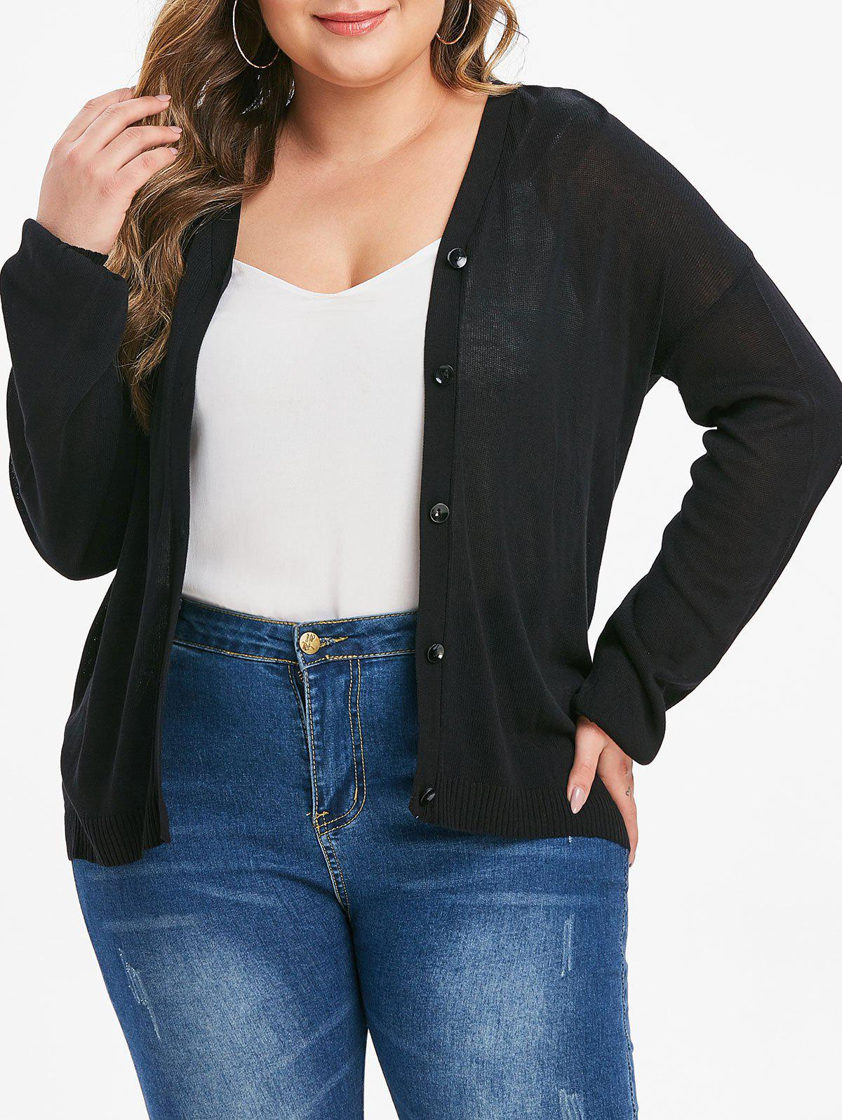 Discount Plus Size Button Up Solid Cardigan