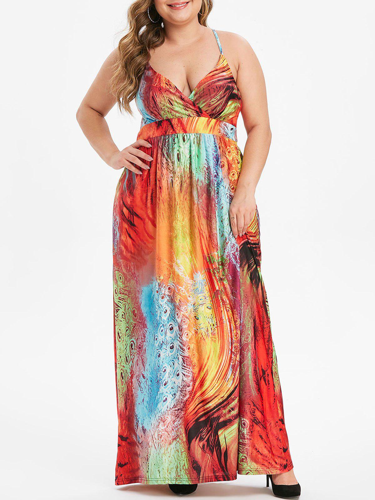 Hot Plus Size Feather Print Shirred Maxi Cami Dress