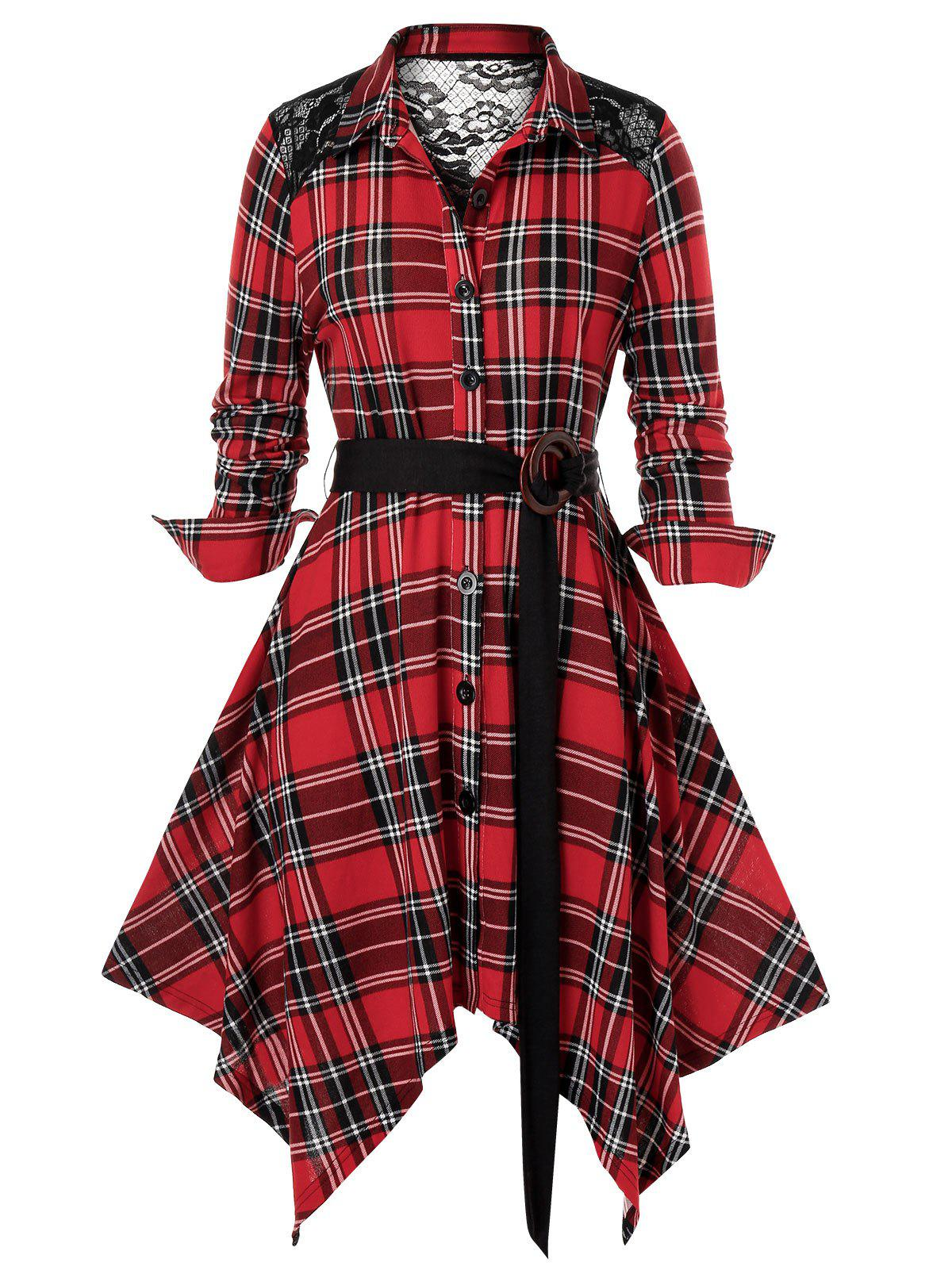 Discount Plus Size Plaid Lace Panel Handkerchief Dress
