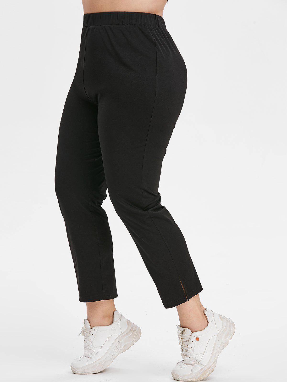 Cheap Plus Size High Waisted Side Slit Tapered Pants
