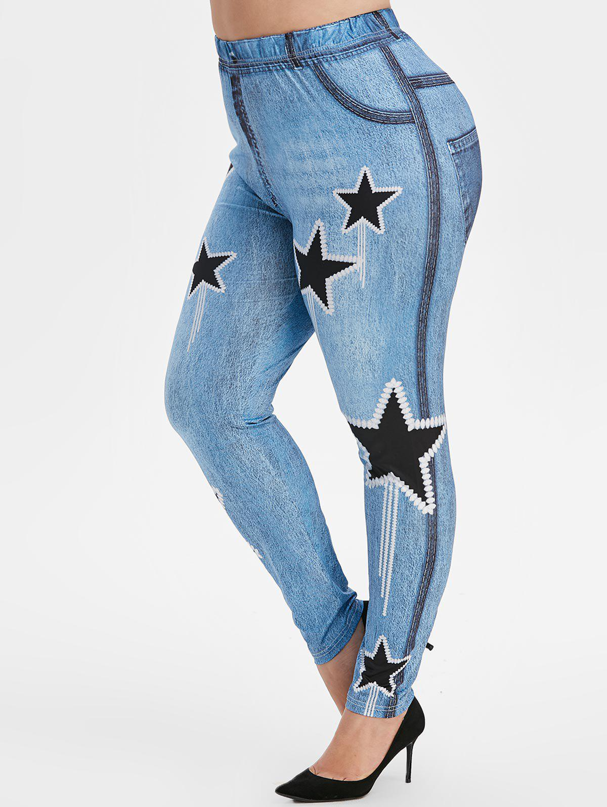 Buy Plus Size High Rise Star Print Skinny Jeggings