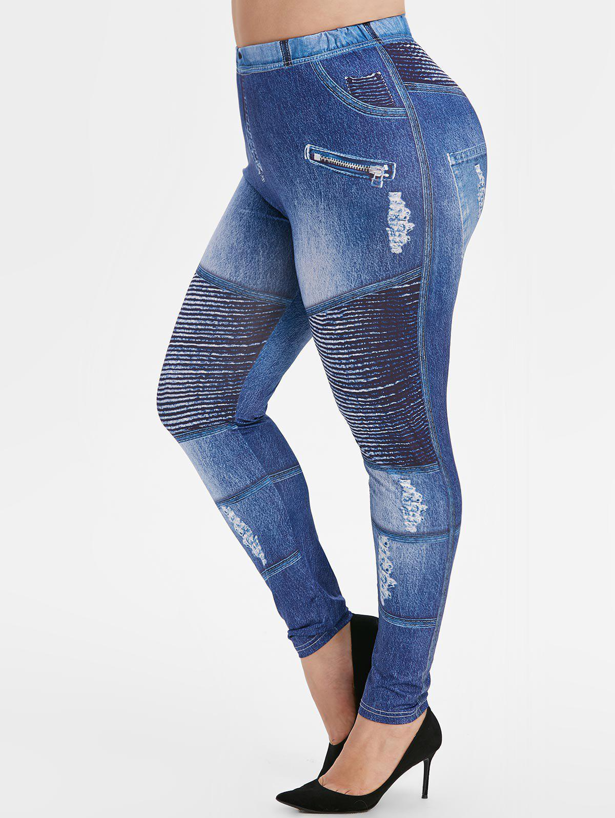 Plus Size Ripped Jean Imprimer Leggings Maigre 3D Bleu Myrtille 1X