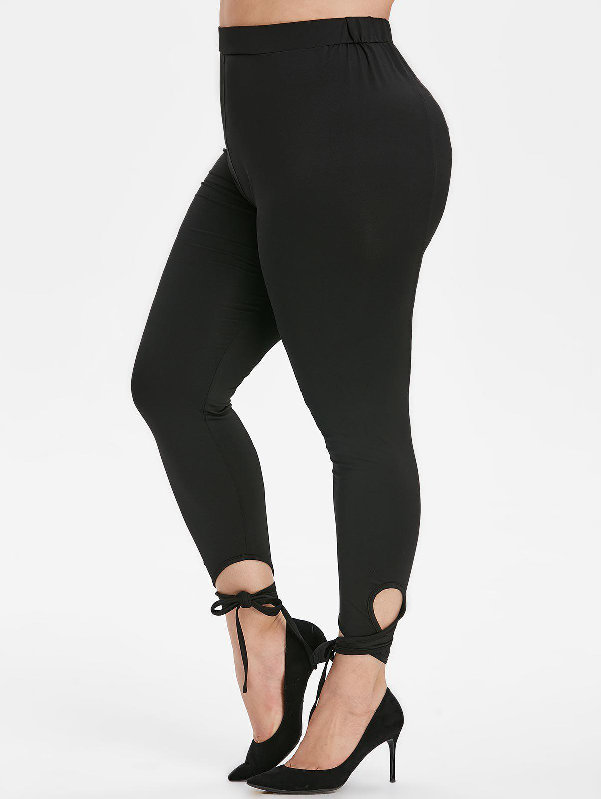 Online Plus Size Tie Knot Lace-up Skinny Leggings