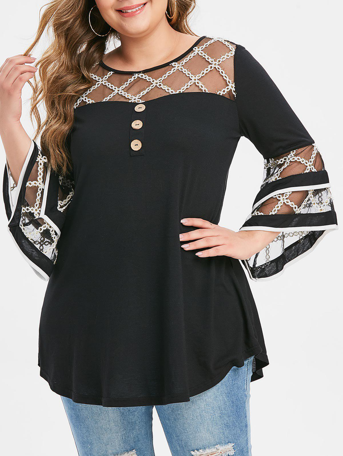 Shop Plus Size Grid Mesh Insert Flare Sleeve Mock Button T-shirt
