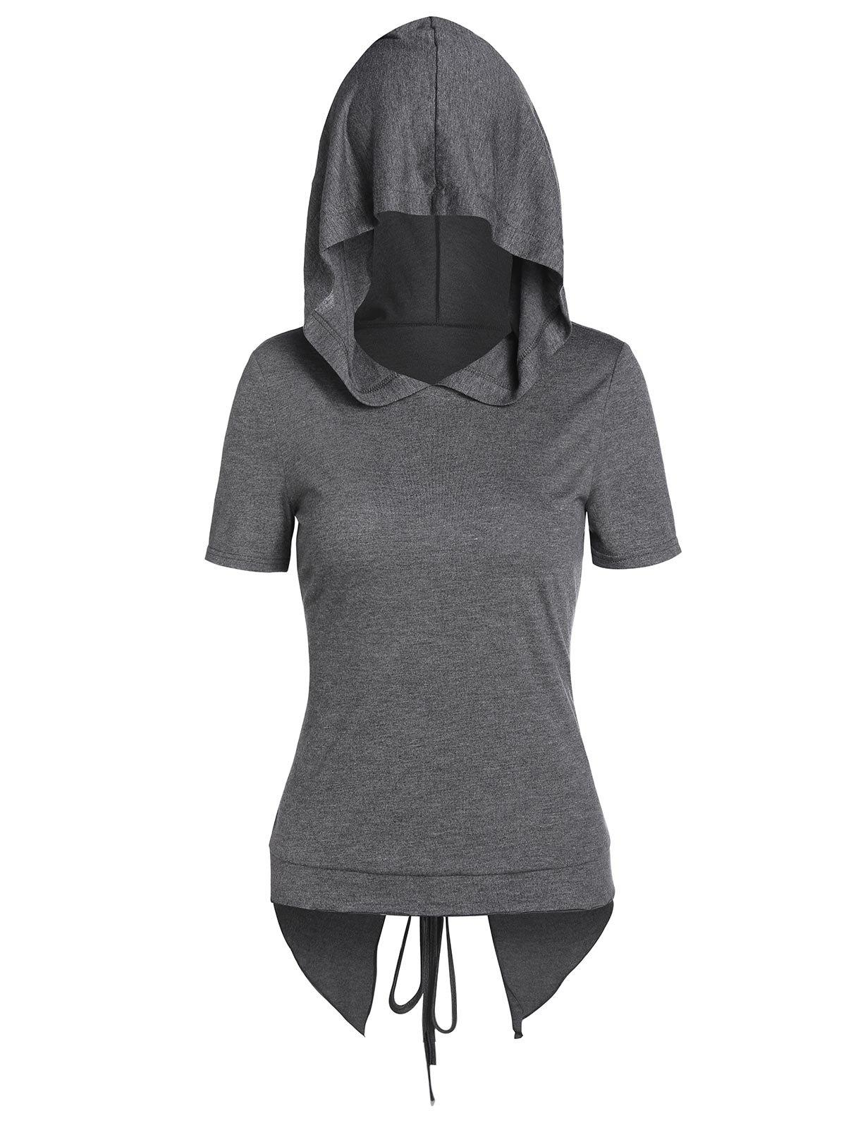 Best Hooded Lace-up Heathered Back Slit High Low T-shirt