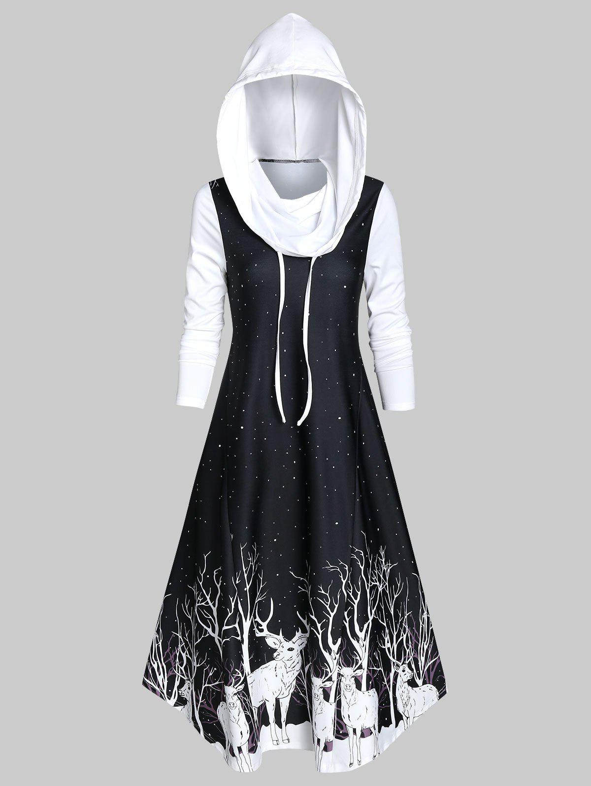 New Hooded Deer Print Fit And Flare Long Sleeve Dress