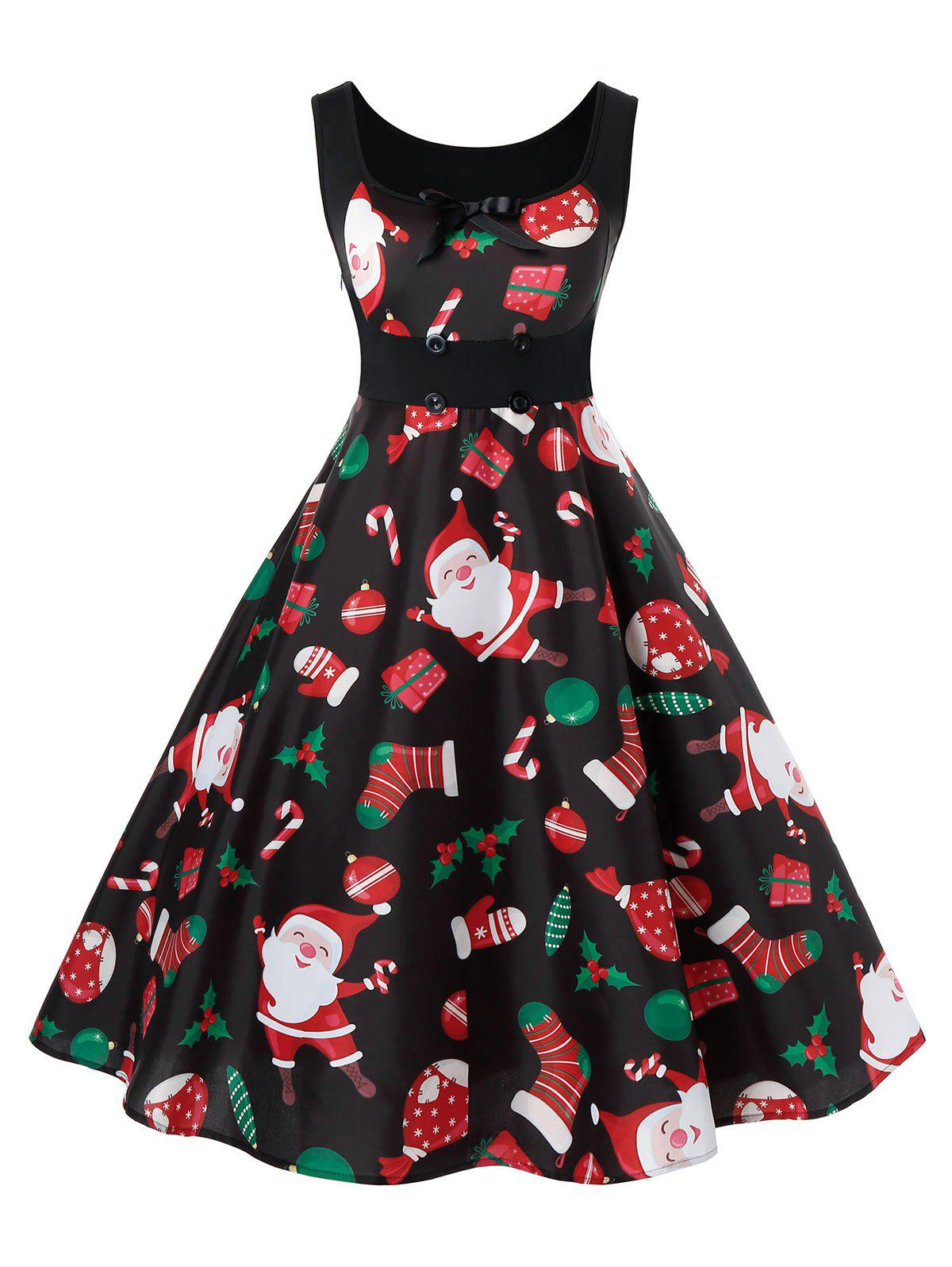 Sale Plus Size Christmas Printed Vintage Pin Up Dress
