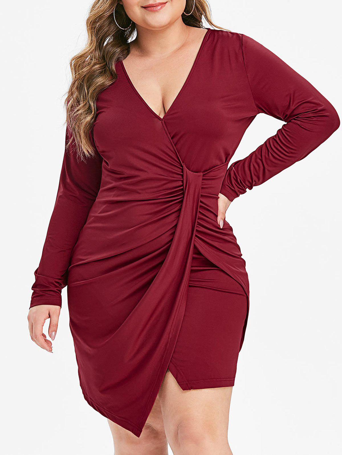 Best Plus Size Ruched Overlap Long Sleeve Sheath Dress