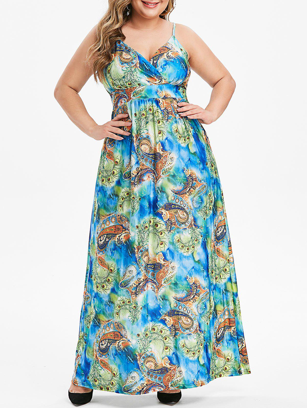 Best Plus Size Feather Paisley Print Maxi Cami Dress
