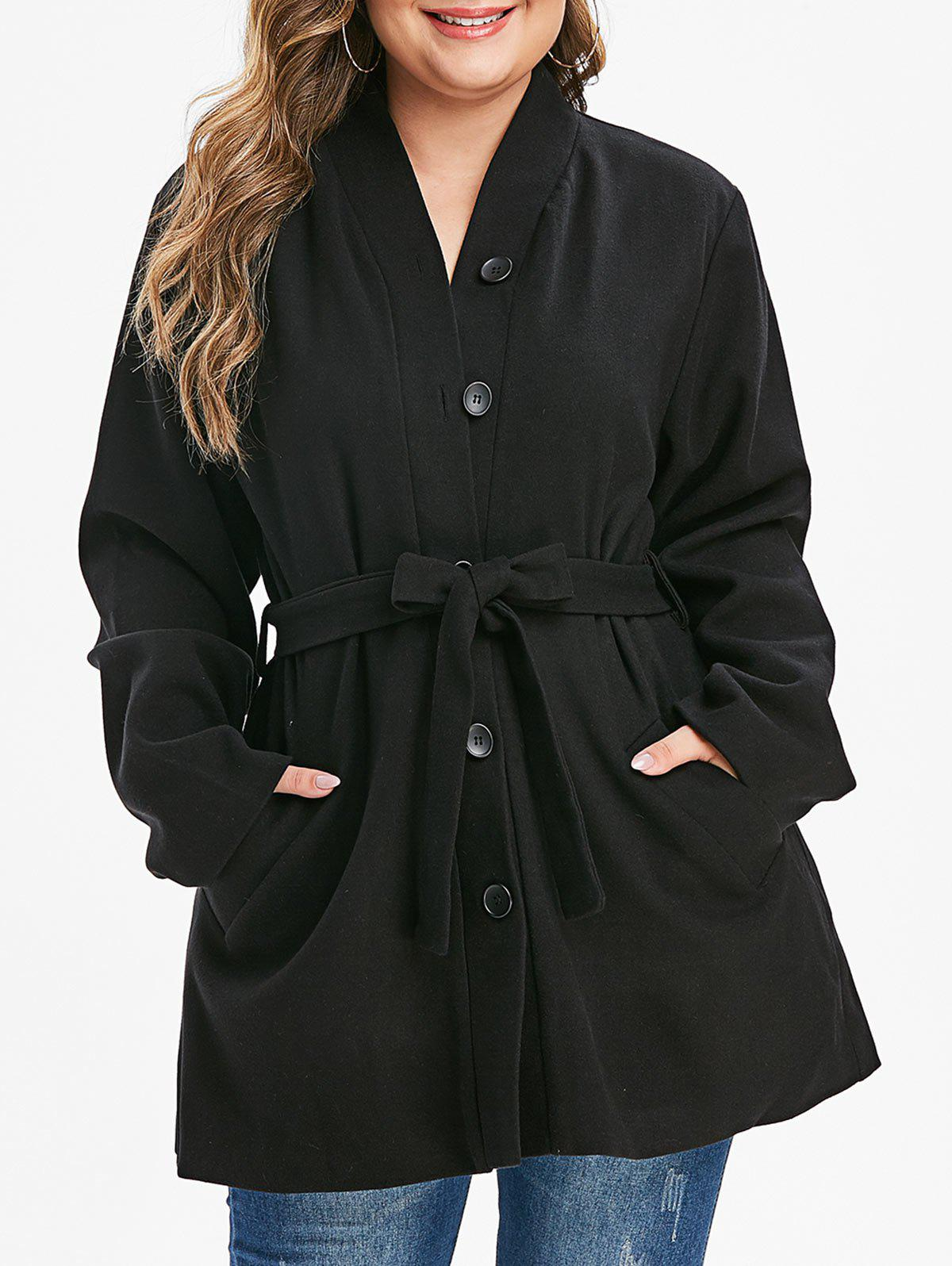 Outfit Plus Size Buttoned Belted Solid Coat
