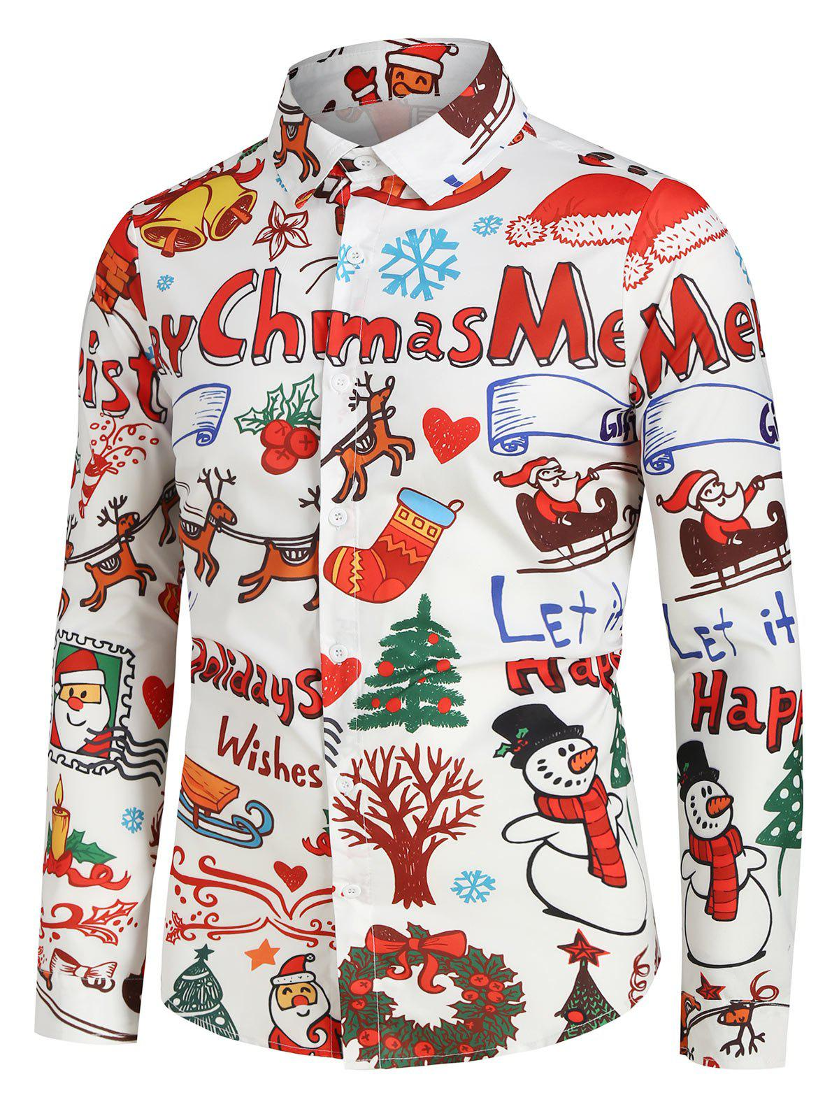 Plus Size Christmas Cartoon Print Button Up Long Sleeve Shirt фото