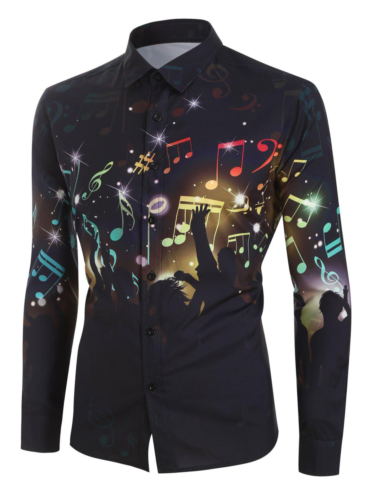 Trendy Plus Size Music Note Audience Button Long Sleeve Shirt