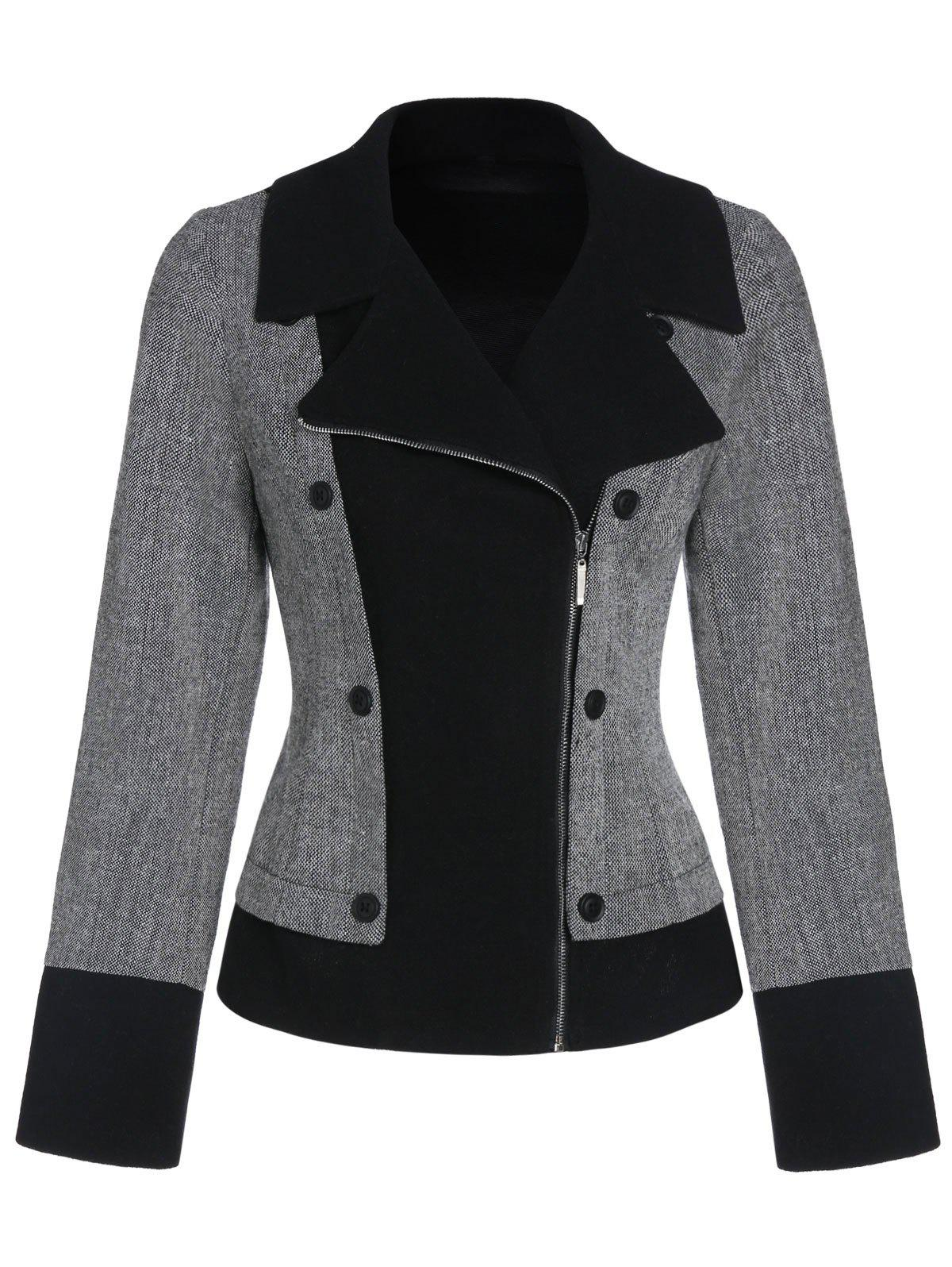 Double boutonnage Zip Up Jacket Lapel