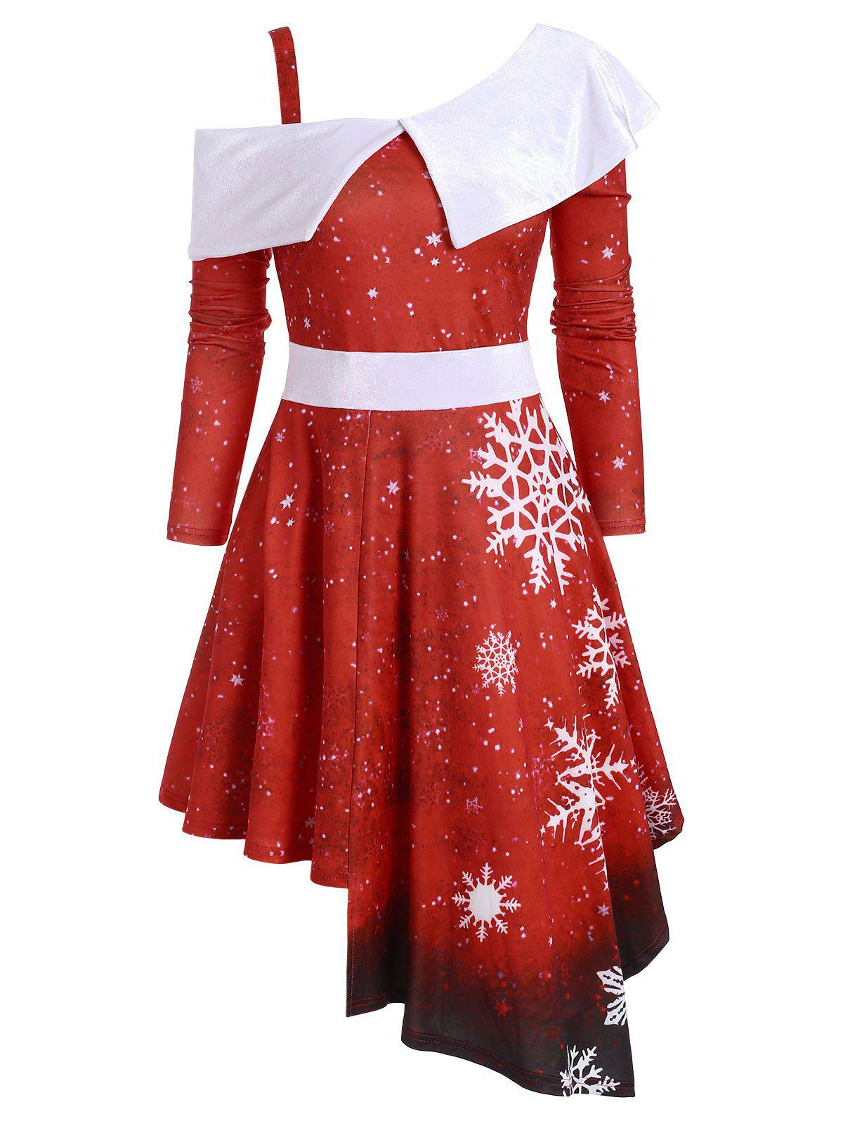 Outfit Snowflake Velvet Panel Asymmetric Christmas Dress
