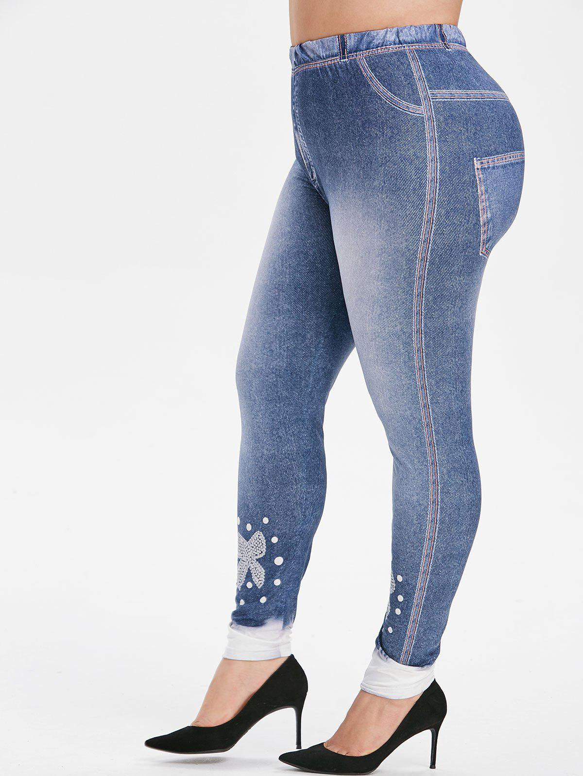 Taille Plus bowknot Imprimer taille haute Skinny jeggings