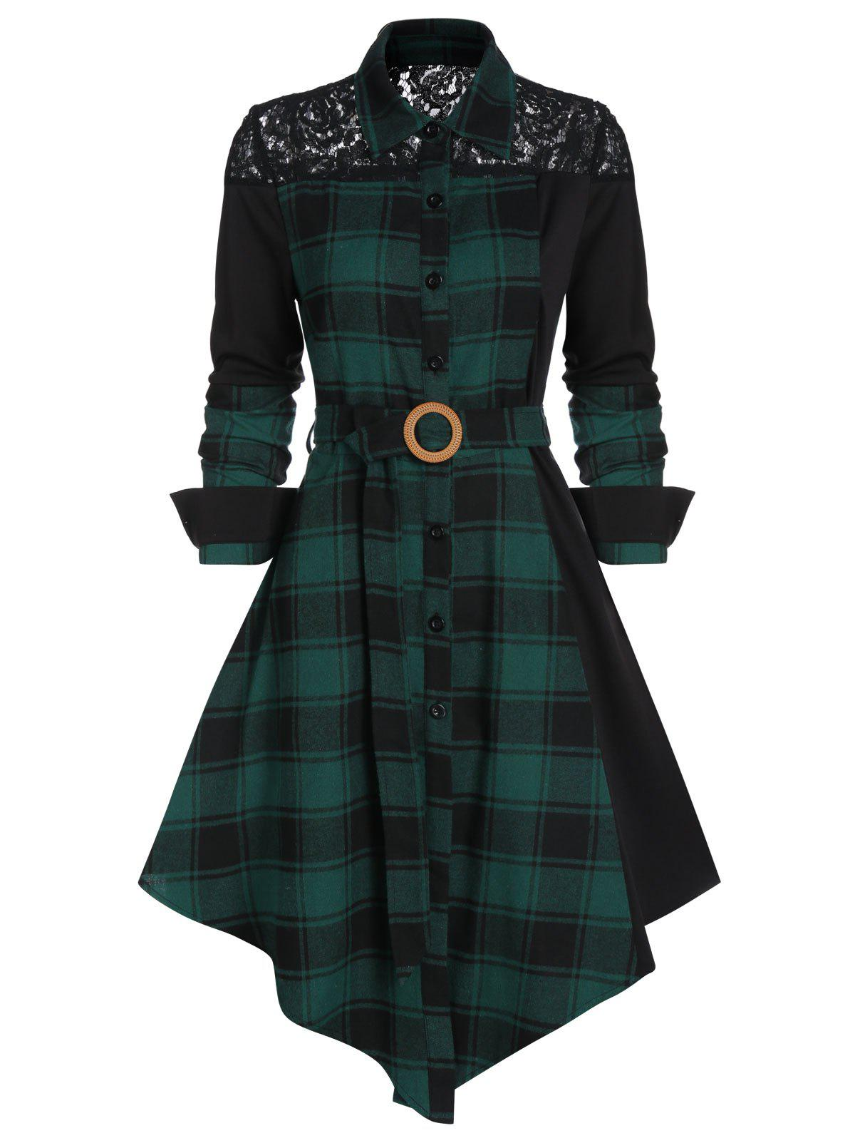 Outfits Lace Panel Plaid Print Belted Shirt Dress