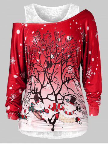 Plus Size Christmas Printed Skew Neck T Shirt And Lace Top Set
