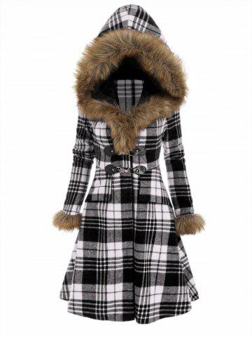 Plaid Hooded Longline Coat