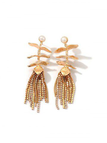 Faux Pearl Leaves Rhinestone Tassel Earrings