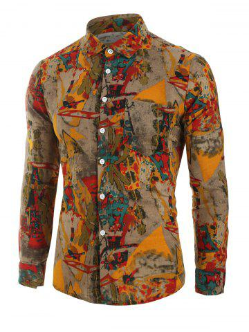 Vintage Print Button Up Long sleeved Shirt - from $18.99