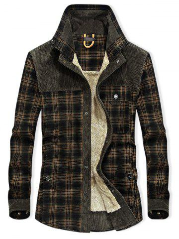 Plaid Print Button Up Fleece Jacket