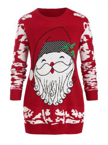 Plus Size Christmas Santa Claus Tunic Sweater - RED - L