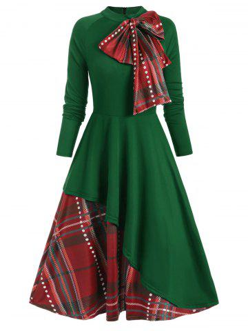 Plaid Contrast Bowknot Flared Overlay Dress