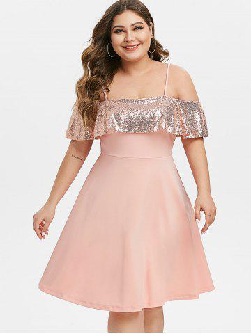 Plus Size Sequin Open Shoulder Party Cocktail Dress