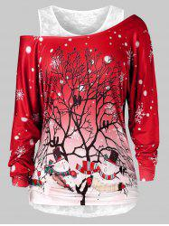 Plus Size Christmas Printed Skew Neck T Shirt And Lace Top Set -
