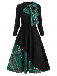 Plaid Contrast Bowknot Flared Overlay Dress -