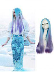 Center Part Long Ombre Straight Synthetic Cosplay Wig -