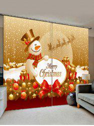 Christmas Snowman Ball Print Decorative Window Curtains -