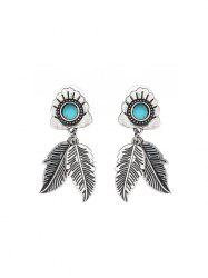 Carved Leaf Turquoise Drop Earrings -