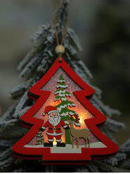 Glowing Christmas Theme Wooden Hanging Decoration -