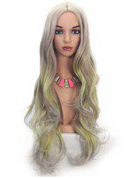 Ombre Highlight Long Body Wave Synthetic Center Part Wig -
