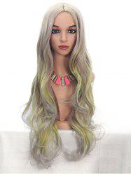 Synthetic Center Part Highlight Long Body Wave Wig -