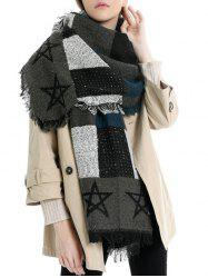 Fringe Star Pattern Colorblock Long Scarf -