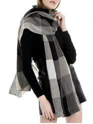 Winter Plaid Color-blocking Long Scarf -