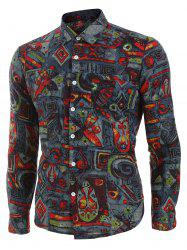 Vintage Print Button Long-sleeved Shirt -