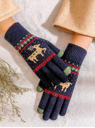 Christmas Wapiti Pattern Knitted Gloves -