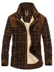 Plaid Print Button Up Fleece Jacket -